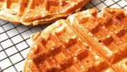 Vegan, Nut-Free Waffles. My son has egg, nut, dairy allergies. Recipe adapted from Sarabeth's: Whole wheat flour, coconut milk, applesauce, banana, brown sugar, canola oil, vanilla, baking powder, salt. I freeze them and he toasts as desired. He thanks me; so worth it. #sarabeths #vegan #nutfree