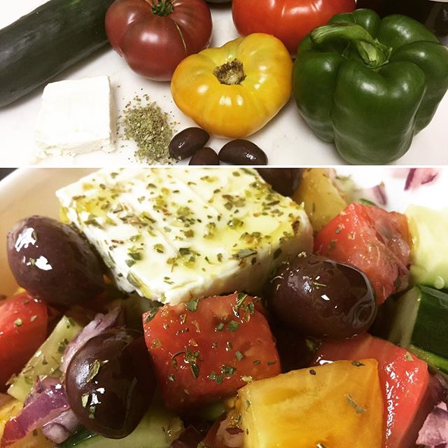 Had a stressful morning. Making lunch totally put a smile on my face. Reminded me there's no problem a ripe tomato can't soothe :-) #greeksalad #behappy #keepitsimple #cookingisfun