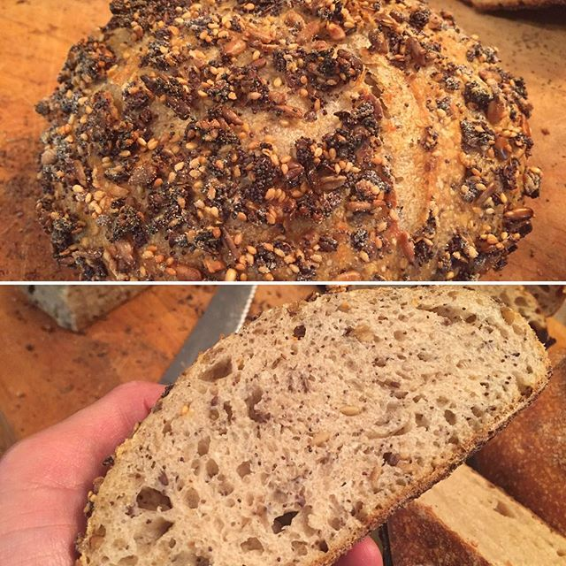 Zea Seeded Sourdough; Poppy, flax, sunflower & sesame seeds. #petersbread @peterkfitness #zealifegiving @demetraorganics #greekfood #ancientgrains #sourdoughbread