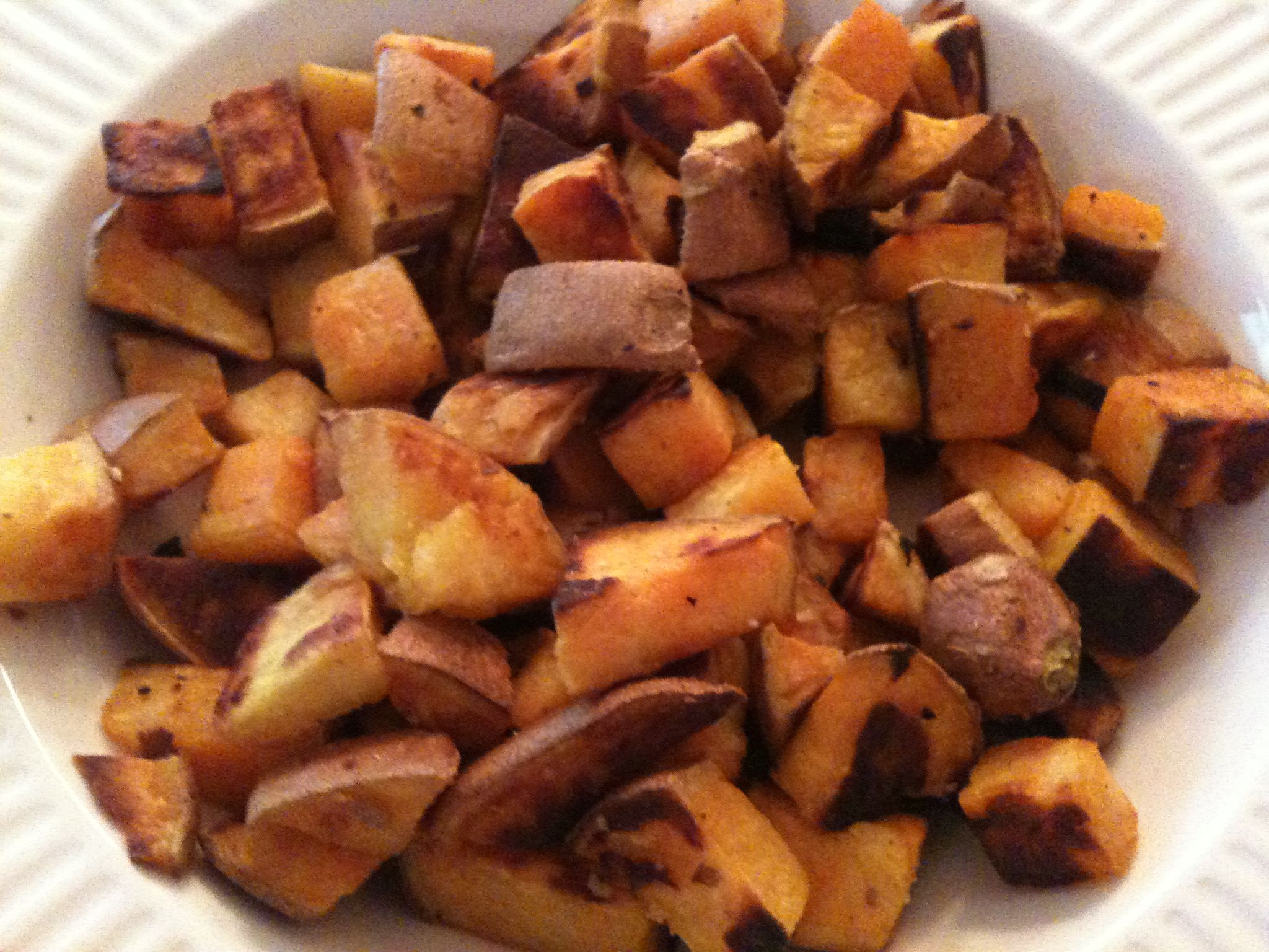 baked sweet potatoes cubed