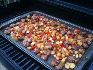 breakfast- turkey sausage, potatoes, veggies on grill