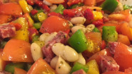 Recipe – Chopped Salad; Beans, Tomatoes, Peppers, Salami