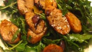 Recipe- Sausage & Peppers Over Arugula Greens