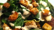Recipe- Simple Spring Salad, w/ Homemade Croutons, Tahini Dressing